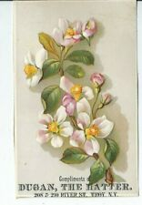 AI-081 NY, Troy, Dugan the Hatter Victorian Trade Card Flowers
