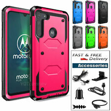 For Motorola Moto G8 Play/Plus/Power Shockproof Rubber Phone Case + Accessories