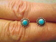 Native Sterling Silver & TURQUOISE Small Stud Earrings> new