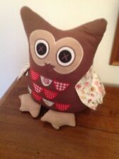 Owl Doorstop Dark Brown with Bright Patchwork Feathers and Wings VGC