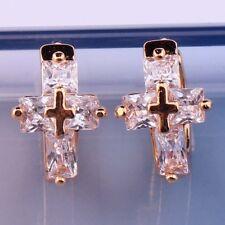 18K Gold Filled - Clear Zircon Gemstone Rectangle Cross Party Girl Hoop Earrings