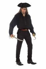 Adult Men Black Buccaneer Pirate Shirt Costume Accessory Halloween Ren Colonial