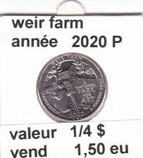 e4 )pieces de 25 cent 2020 P  weir farm
