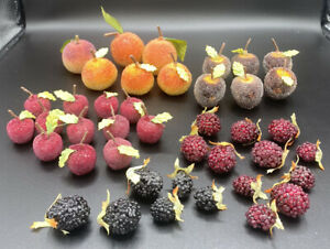 39 Pc Lot of Vintage Sugared Beaded Frosted Fake Faux Fruit Harvest Decorative