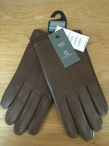 MARKS & SPENCER MENS LEATHER & THERMOWARMTH TAN BROWN GLOVES, Size M, Bnwt