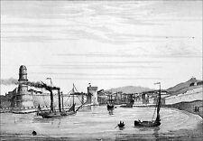 BATEAU à ROUES à AUBES à l'ENTRÉE du PORT de MARSEILLE - Gravure du 19e siècle