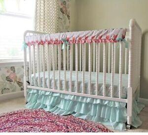 Tushies and Tantrums Boutique Crib Bedding Set Arrow Theme New Aqua/ Coral  $315