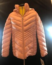BNWT Michael Kors Packable Down Puffer Jacket Size L Blush with Hood & Dust Bag