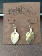 Lucky Brand brushed gold leaf or arrow shaped dangle earrings