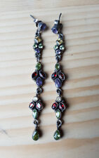 Traditional Indian, long 100% silver earing with multi coloured stones