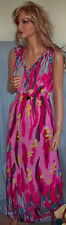 Women M Summer Pink Blue BOHO Chic Bohemia Exotic Nightgown Dress Sundress Maxi