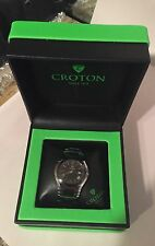 New  Croton Men's Watch CR307925 Stainless Steel/Black