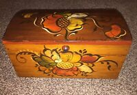 Vintage Floral Decorated Folk Art Hand Painted Wood Box  By Helen Hume Signed