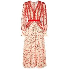 NEW Self-Portrait Crescent Cream Red Chiffon Midi Dress Ballon Sleeve 8 Uk 4 US