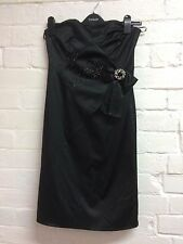 Ladies/Teen Prom/Evening Dress Size 10 Black Satin Style River Island