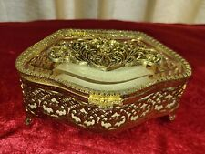 Vintage Antique Matson Gold Gilt Footed Filigree Jewelry Casket Trinket Box