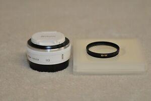 Nikon 1 NIKKOR 10mm f/2.8 CX AS Lens (White) w/ B+W UV Filter *** NEW ***