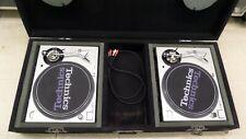 (2) Technics SL-1200M3D Analog DJ Turntables - Silver with flight case
