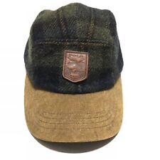 Vintage Polo Ralph Lauren Wool Alpaca Cow Leather Plaid Strap Back Hat Sportsman
