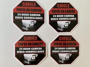 SMILE YOUR ON CAMERA STICKER SECURITY VIDEO CAMERA STICKER NO TRESPASSING