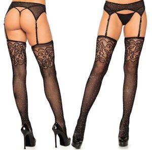 Rhinestone Black Fishnet Stockings W/Jacquard Lace Top, Glitter, Sparkley, Gltz
