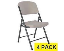 Lifetime 80186 Commercial Folding Chairs  Putty Colored Contoured Quality 4 Pack