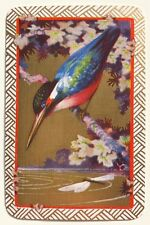 Vintage Swap/Playing Card - KINGFISHER BIRD & DRAGONFLY - GOLD DETAIL - Mint Con