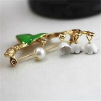 Women Vintage Green Leaf Pin Lily of The Valley Enamel Brooch Jewelry Gifts C