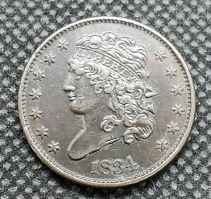 1834 Classic Head Half Cent | EXTRA FINE Details