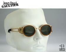 Jean Paul Gaultier 58-6201 Vintage 90s gold round side shields round sunglasses