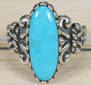 Carolyn Pollack Relios Sterling Silver and Turquoise Size 10 Ring 266A