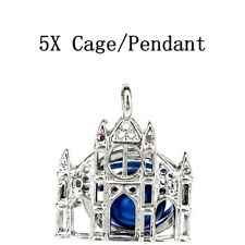 Cage Building Charm Diffuser Locket 5X-K1233 Silver Color Castle Beads Pearl