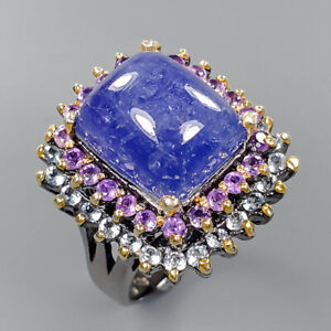 Tanzanite Ring Silver 925 Sterling Handmade Jewelry Art Size 7.75 /R148272