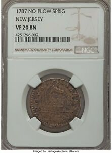 1787 VF 20 No Plow Sprig New Jersey Colonial Coin Coin (1182)