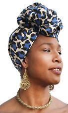 African Head Scarf Blue Cream Leopard Turban Head Wrap Chemo Hair Hijab Nubian