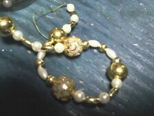 5 strands Gold/White Bead Garland-  Christmas - Crafts - Decor  Floral 3580