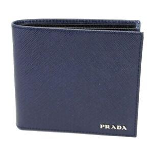 BNWB PRADA SAFFIANO Leather Mens Bifold Wallet 100% Auth Baltic Blue MSRP $550