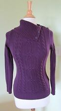 Tommy Hilfiger Cable Knit Button Split Cowl Neck Sweater Purple XS $64