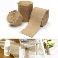 10M Burlap Riband Roll Hessian Jute Cloth Rustic Wedding Party Decor 4 Sizes