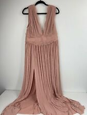 Asos Women's Pink Dress Size 14 Lace Detail Pleated Fabric