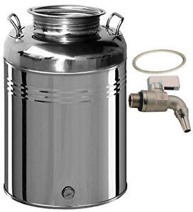 Contenitore fusto bidone olio Inox 18/10 Belvivere 50 lt made in Italy
