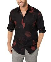 INC Mens Shirt Black Red Size XL Button Up Floral Print Long Sleeve $65 #054