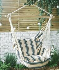 Hanging Chair 100% Cotton Garden Outdoor Swinging Hammock Cushioned Seat