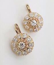 RUSSIAN VINTAGE STYLE 14K 585 YELLOW GOLD ROUND DIAMOND MALINKA EARRINGS SI1-G