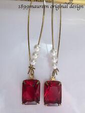 Art Nouveau Art Deco vintage style earrings red glass stones pearl drop LONG