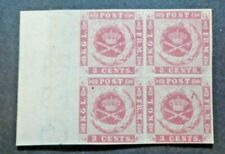 1866 3C KARMIN PLATE 1 CORNER BLOCK VF MNH DWI DENMARK WEST INDIES W9.43 0.99$