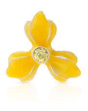 NEW PILGRIM SKANDERBORG, DENMARK Yellow Crystal Flower Brooch in Metallic Base