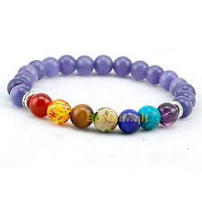 Purple 7 Chakra Healing Balance Beads Reiki Prayer Yoga Bracelet