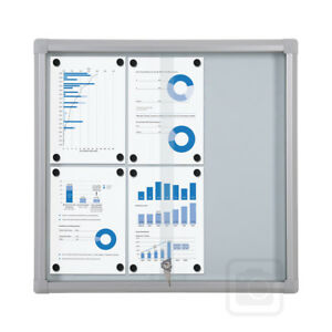 Lockable Sliding Glass Door Magnetic Whiteboard Notice Board 6 x A4 Sheets