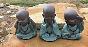 Set x 3 11cms Hear No See No Speak No Monks  Figurines Ornament Home Decoration